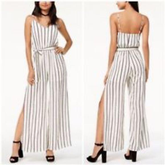 e4eebbcd238a ♥HP♥NWT MONTEAU striped Side slit Jumpsuit XL